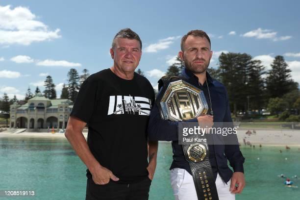 Joe Lopez and UFC Featherweight Champion Alex Volkanovski pose at Cottesloe Beach on February 25 2020 in Perth Australia