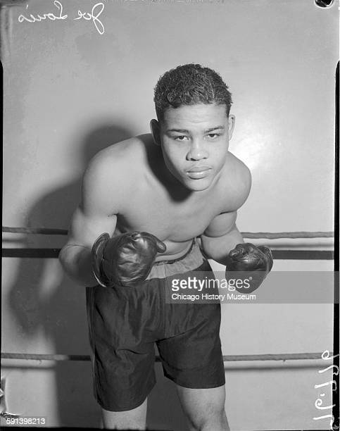 Joe Louis in boxing stance Chicago Illinois circa 1935 From the Chicago Daily News collection