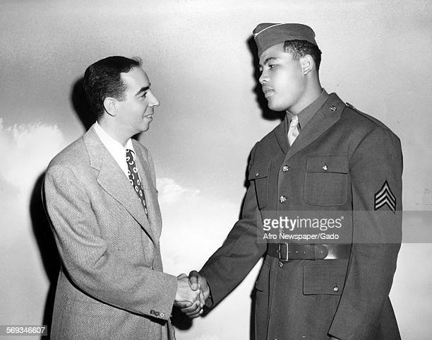 Joe Louis shaking hands with director Vincente Minnelli on set of Cabin in the Sky 1943 It starred Ethel Waters Eddie 'Rochester' Anderson Lena Horne...