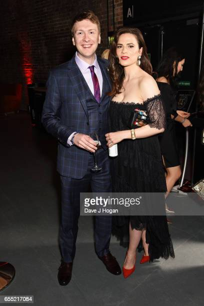Joe Lycett and Hayley Atwell attend the THREE Empire awards at The Roundhouse on March 19 2017 in London England