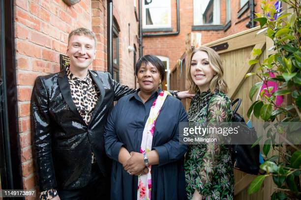 Joe Lycett Lord Mayor of Birmingham Councillor Yvonne Mosquito and Katherine Ryan at the opening of Joe Lycett's new kitchen extension at his home on...