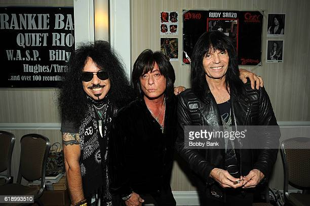 Joe Lynn Turner Rudy Sarzo and Frankie Banali attend 2016 Chiller Theatre Expo Day 1 at Parsippany Hilton on October 28 2016 in Parsippany New Jersey