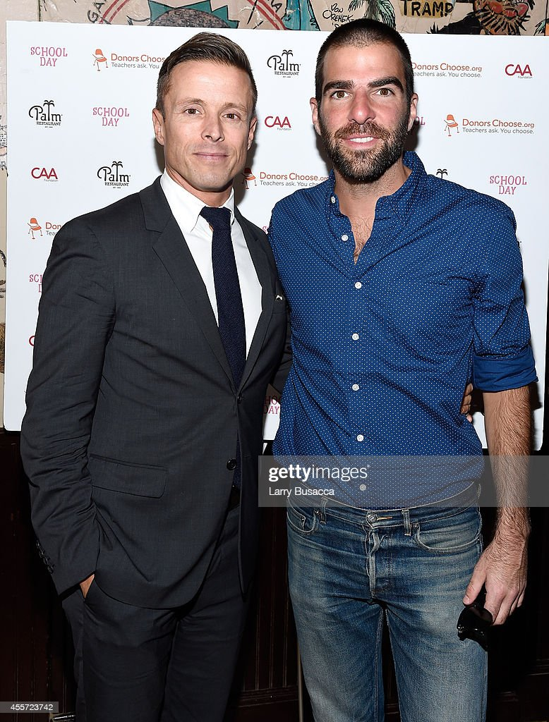 Joe Machota (L) and Zachary Quinto attend CAA Foundation's School Day event benefiting donorschoose.org at The Palm One on September 18, 2014 in New York City.