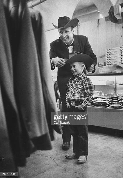 Joe Madden and his son shopping during their stay for the National Western Stock show