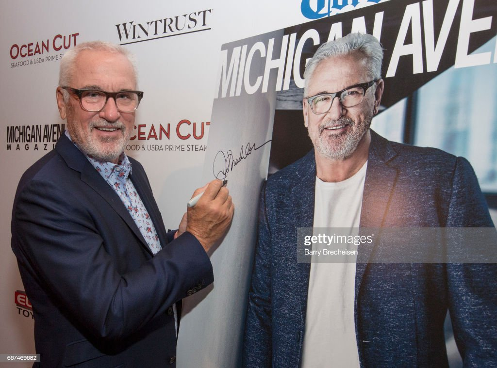 Joe Maddon during the Michigan Avenue Magazine's cover party at Ocean Cut on April 11, 2017 in Chicago, Illinois.