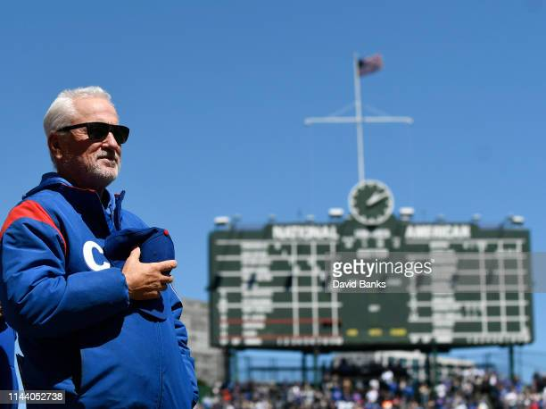 Joe Maddon of the Chicago Cubs before the game against the Arizona Diamondbacks at Wrigley Field on April 20 2019 in Chicago Illinois