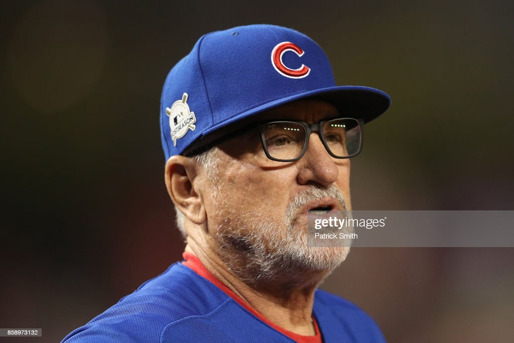 Joe Maddon #70 of the Chicago Cubs looks on against the Washington Nationals during game one of the National League Division Series at Nationals Park on October 6, 2017 in Washington, DC.