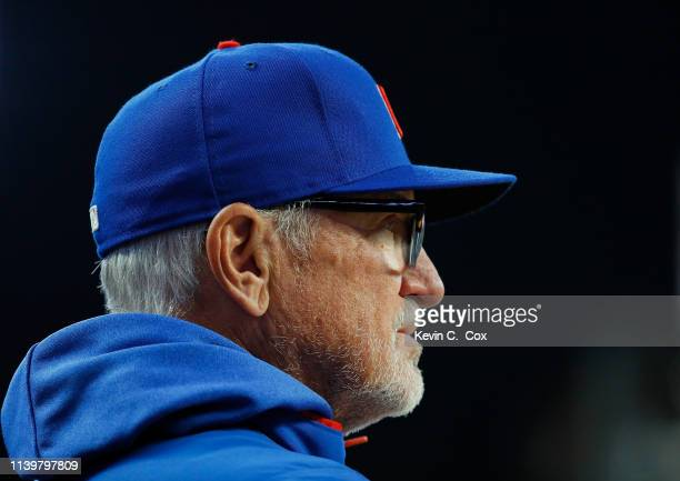 Joe Maddon of the Chicago Cubs looks on during the fifth inning against the Atlanta Braves on April 01 2019 in Atlanta Georgia