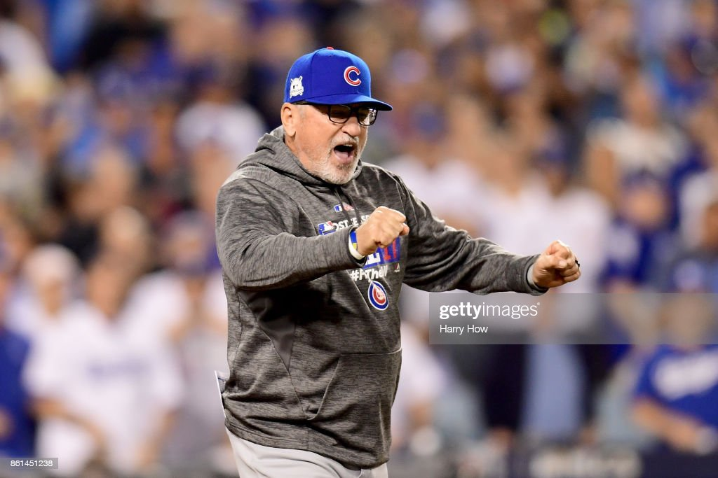Joe Maddon #70 of the Chicago Cubs reacts after being ejected during the seventh inning against the Los Angeles Dodgers in Game One of the National League Championship Series at Dodger Stadium on October 14, 2017 in Los Angeles, California.