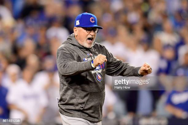 Joe Maddon of the Chicago Cubs reacts after being ejected during the seventh inning against the Los Angeles Dodgers in Game One of the National...
