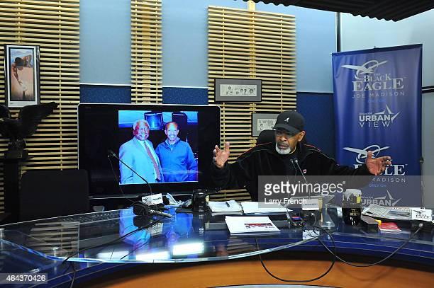 Joe Madison hosts the Joe Madison show on the Urban View channel during SiriusXM's Joe Madison's 52Hour Marathon Broadcast at SiriusXM Studio on...