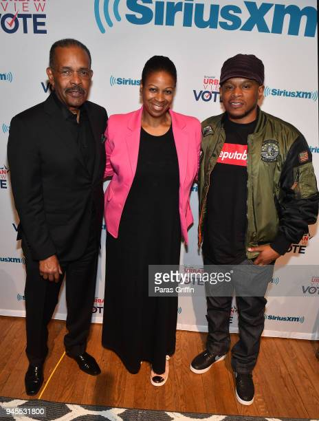 Joe Madison Karen Hunter and Sway Calloway attend SiriusXM's Urban View Vote at Morehouse College on April 12 2018 in Atlanta Georgia