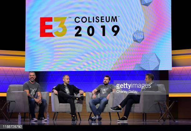 Joe Madureira Ryan Stefanelli Reinhard Pollice and Geoff Keighley speak onstage at the Darksiders Action Adventure Evolved panel during E3 2019 at...