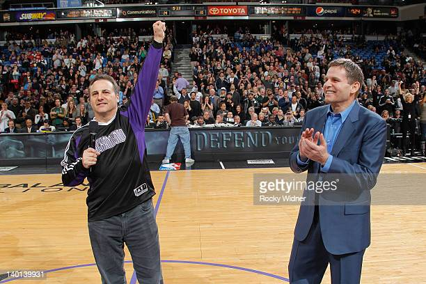 Joe Maloof and Gavin Maloof, owners of the Sacramento Kings, address the crowd before a game against the Utah Jazz on February 28, 2012 at Power...