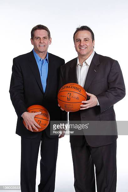 Joe Maloof and Gavin Maloof owners of the Sacramento Kings pose for a photo on media day December 15, 2011 at Power Balance Pavilion in Sacramento,...