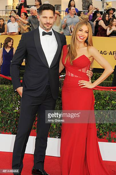 Joe Manganiello and Sofia Vergara attend the 21st Annual Screen Actors Guild Awards at the Shrine Auditorium on January 25, 2015 in Los Angeles,...