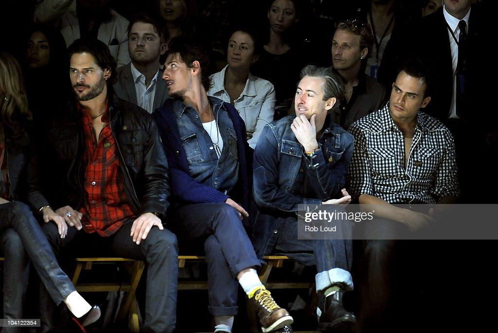 Joe Manganiello, Eric Balfour, Alan Cumming, and Cheyenne Jackson attend the G-Star Spring 2011 fashion show during Mercedes-Benz Fashion Week at Pier 94 on September 14, 2010 in New York City.