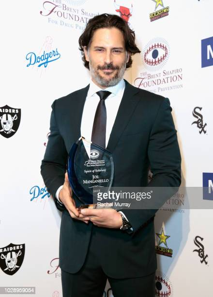 Joe Manganiello poses with the Spirit of Sobriety Award backstage at The Brent Shapiro Foundation Summer Spectacular at The Beverly Hilton Hotel on...