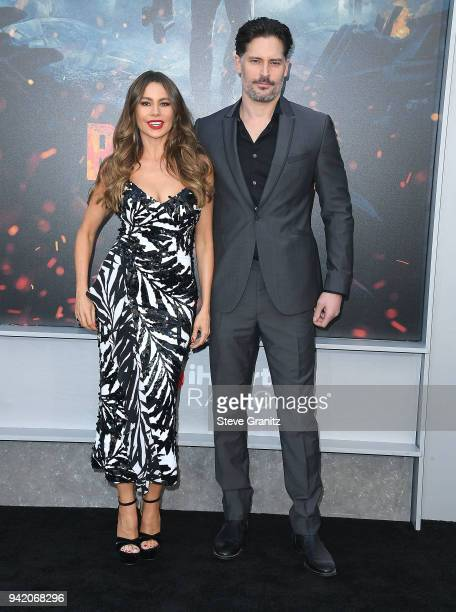 Joe Manganiello Sofia Vergara arrives at the Premiere Of Warner Bros Pictures' 'Rampage' at Microsoft Theater on April 4 2018 in Los Angeles...