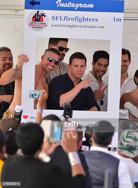 Joe ManganielloChanning Tatum and Adam 'Tito' Rodriguez attend Magic Mike XXL cast honored with stars on The Official Miami Walk Of Fame at Bayside...