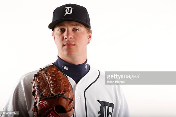 Joe Mantiply of the Detroit Tigers poses for a photo during the Tigers' photo day on February 28 2015 at Joker Marchant Stadium in Lakeland Florida