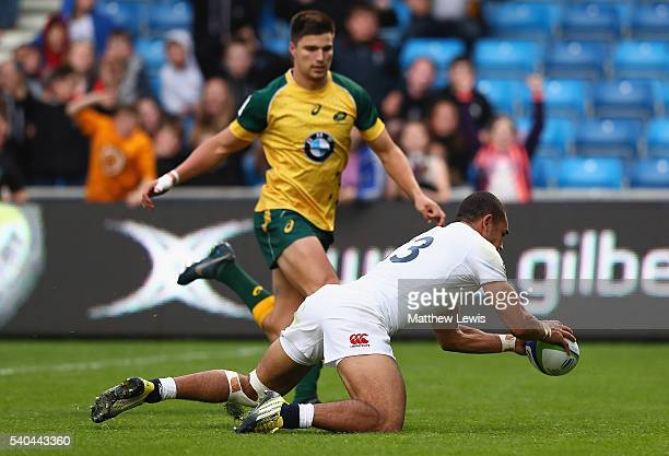 Joe Marchant of England scores a try during the World Rugby U20 Championship match between England and Australia at AJ Bell Stadium on June 15 2016...