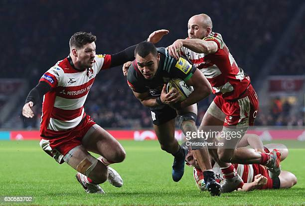 Joe Marchant of Harlequins goes over to score his team's third try during the Aviva Premiership Big Game 9 match between Harlequins and Gloucester...
