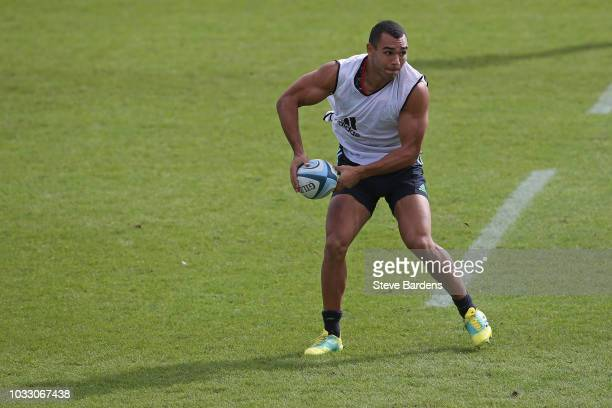 Joe Marchant of Harlequins in action during the captain's run at Twickenham Stoop on September 14 2018 in London England