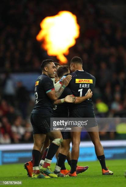 Joe Marchant of Harlequins is congratulated after scoring a try during the Gallagher Premiership Big Game 11 match between Harlequins and Wasps at...