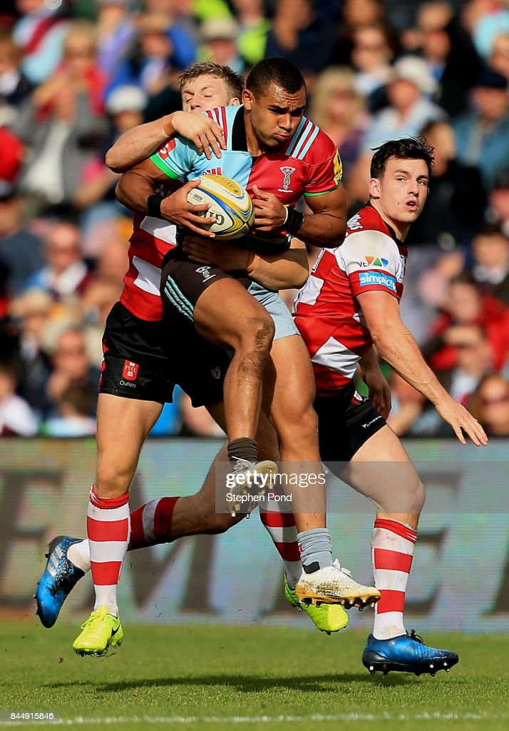Joe Marchant of Harlequins is tackled during the Aviva Premiership match between Harlequins and Gloucester Rugby at Twickenham Stoop on September 9, 2017 in London, England.