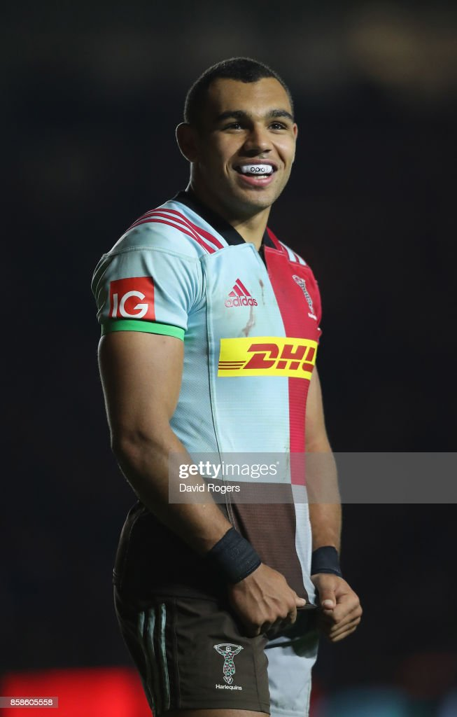 Joe Marchant of Harlequins looks on during the Aviva Premiership match between Harlequins and Sale Sharks Sharks at Twickenham Stoop on October 6, 2017 in London, England.