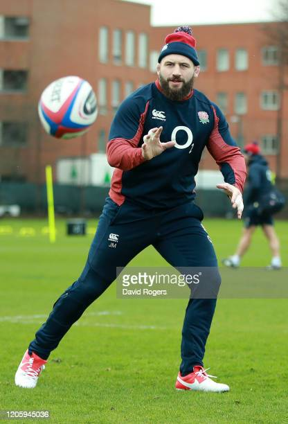 Joe Marler attends an England rugby training session held at the Kensington Latymer Upper School on February 13 2020 in London England