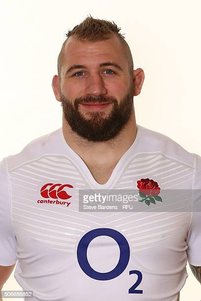 Joe Marler during the England EPS Six Nations Squad Portrait session at Pennyhill Park on January 25 2016 in Bagshot England