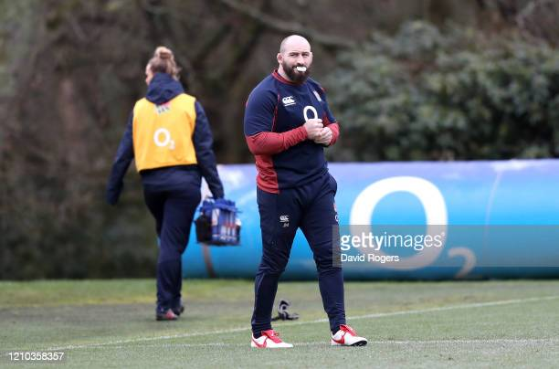Joe Marler of England looks on during a training session ahead of their Guinness Six Nations match against Wales at Pennyhill Park on March 04 2020...