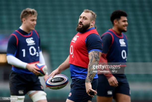 Joe Marler of England looks on during an England Open Training Session at Twickenham Stadium on February 14 2020 in London England