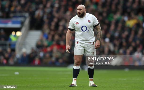 Joe Marler of England looks on during the 2020 Guinness Six Nations match between England and Ireland at Twickenham Stadium on February 23 2020 in...