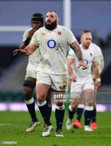 Joe Marler of England looks on during the Autumn Nations Cup Final & Quilter International between England and France at Twickenham Stadium on...