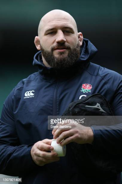 Joe Marler of England looks on during the England Rugby Captain's Run ahead of the Guinness Six Nations match between England and Ireland at...