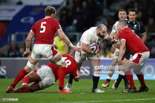 Joe Marler of England on the charge during the 2020 Guinness Six Nations match between England and Wales at Twickenham Stadium on March 07 2020 in...