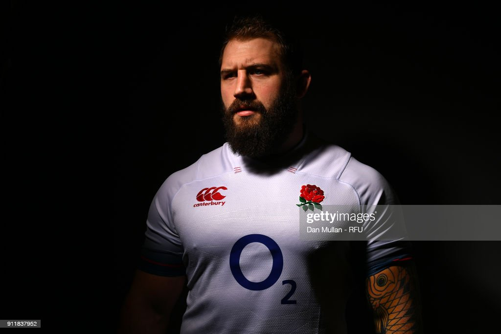 Joe Marler of England poses for a portrait during the England Elite Player Squad Photo call at Pennyhill Park on January 29, 2018 in Bagshot, England.