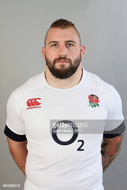 Joe Marler of England poses for a portrait during the England Six Nations Squad Photo Call at the Penny Hill Hotel on January 20 2014 in Bagshot...
