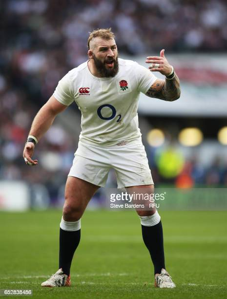 Joe Marler of England reacts during the RBS Six Nations match between England and Scotland at Twickenham Stadium on March 11 2017 in London England