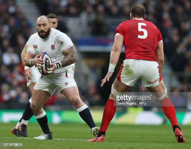 Joe Marler of England runs with the ball during the 2020 Guinness Six Nations match between England and Wales at Twickenham Stadium on March 07 2020...