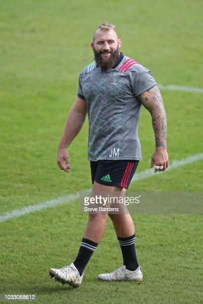 Joe Marler of Harlequins during the captain's run at Twickenham Stoop on September 14 2018 in London England