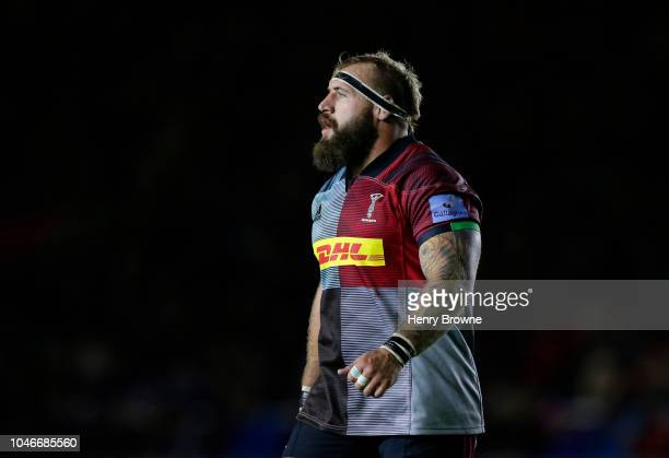 Joe Marler of Harlequins during the Gallagher Premiership Rugby match between Harlequins and Saracens at Twickenham Stoop on October 6 2018 in London...