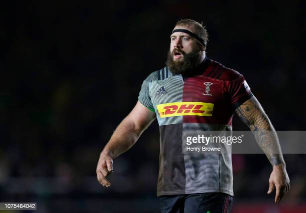 Joe Marler of Harlequins during the Gallagher Premiership Rugby match between Harlequins and Exeter Chiefs at Twickenham Stoop on November 30 2018 in...