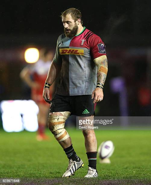 Joe Marler of Harlequins looks on during the European Rugby Challenge Cup semi final match between Harlequins and Grenoble at Twickenham Stoop on...