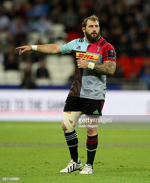 Joe Marler of Harlequins looks on during the European Rugby Challenge Cup Final match between Harlequins and Montpellier at Stade de Lyon on May 13...