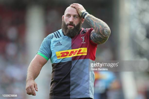 Joe Marler of Harlequins looks on during the Gallagher Premiership Rugby match between Harlequins and Bath Rugby at Twickenham Stoop on September 15...
