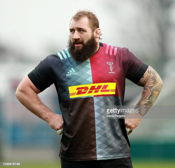 Joe Marler of Harlequins looks on during the Gallagher Premiership Rugby match between Harlequins and London Irish at Twickenham Stoop on January 10,...